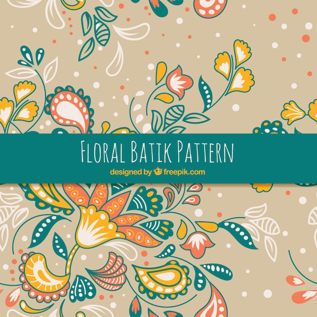 Hand Drawn Batik Floral Pattern Vector