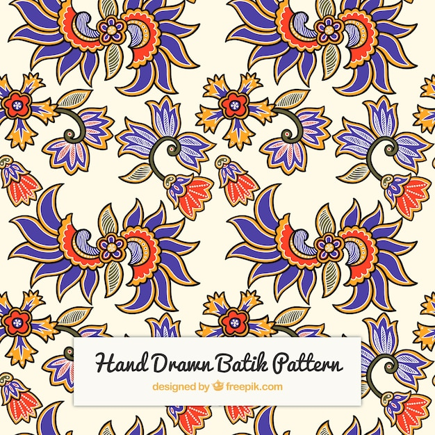 Hand Drawn Batik Flower Pattern Vector