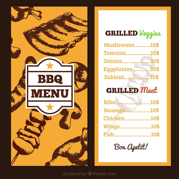 hand drawn bbq menu vector free download. Black Bedroom Furniture Sets. Home Design Ideas