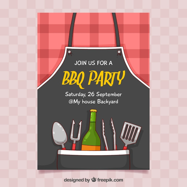 Hand drawn bbq party poster Free Vector