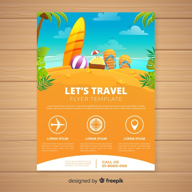 Hand drawn beach travel flyer Free Vector