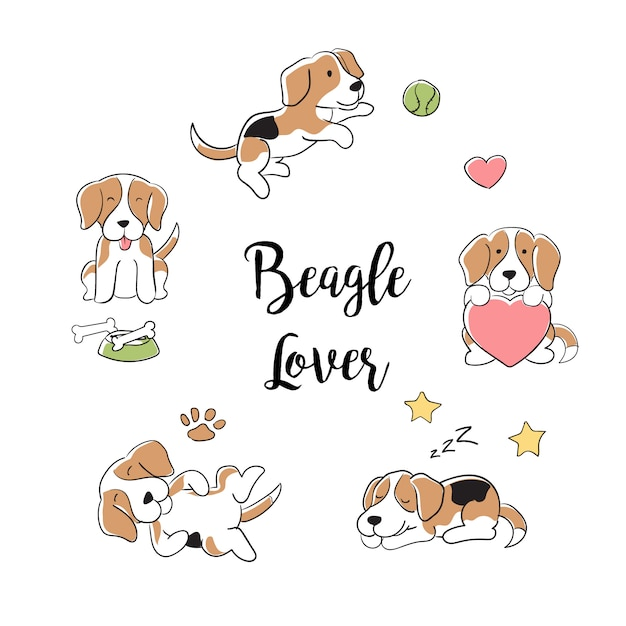 Hand drawn beagle dogs collection Premium Vector