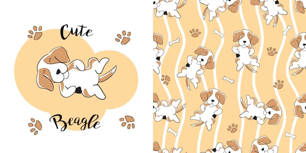 Hand drawn beagle seamless pattern Premium Vector