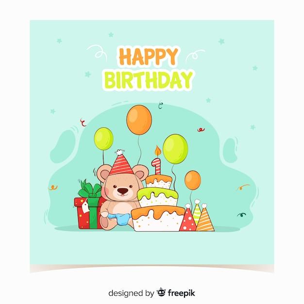 Hand drawn bear first birthday card template Free Vector