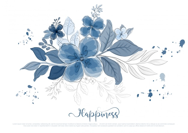 Hand drawn beautiful blue flowers blossom with black line Premium Vector