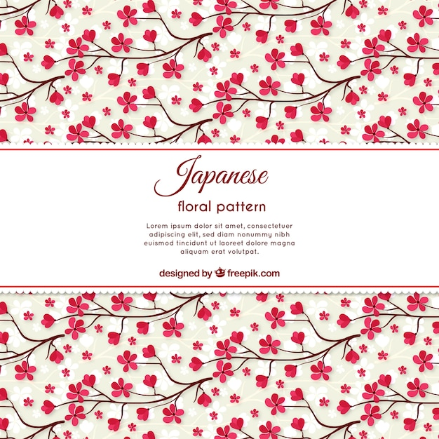 Hand drawn beautiful cherry blossom pattern  Free Vector