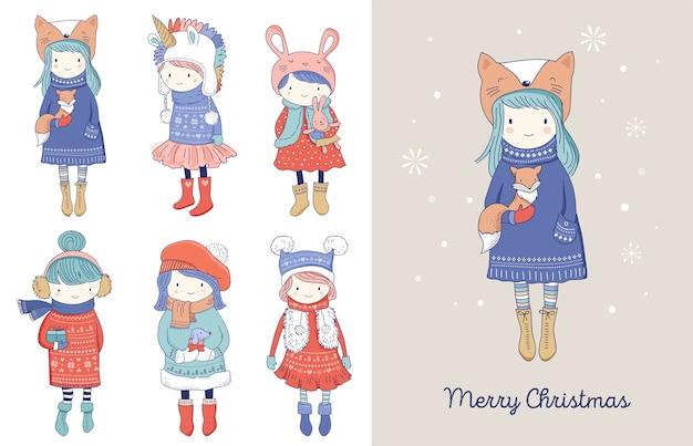 Коллекция рисованной красивых милых маленьких зимних девочек. поздравительные открытки с рождеством Premium векторы