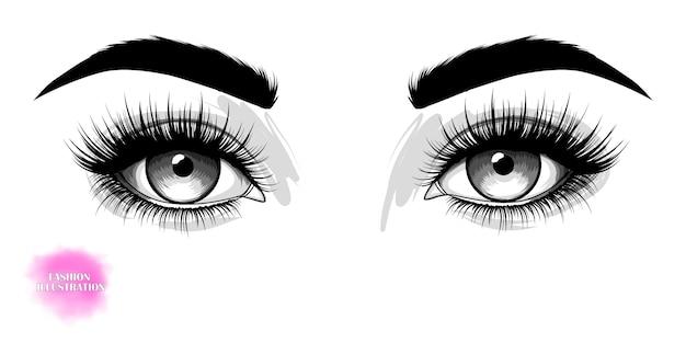 Hand-drawn beautiful eyes Premium Vector
