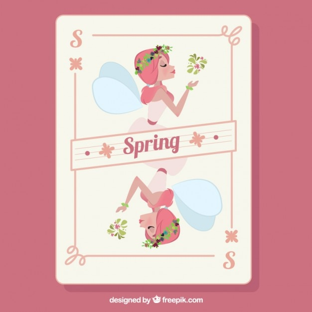 Hand drawn beautiful fairy spring card Free Vector