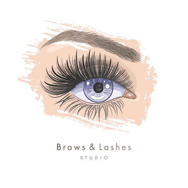 手描きの黒いまつげと眉で美しい女性の目 Premiumベクター