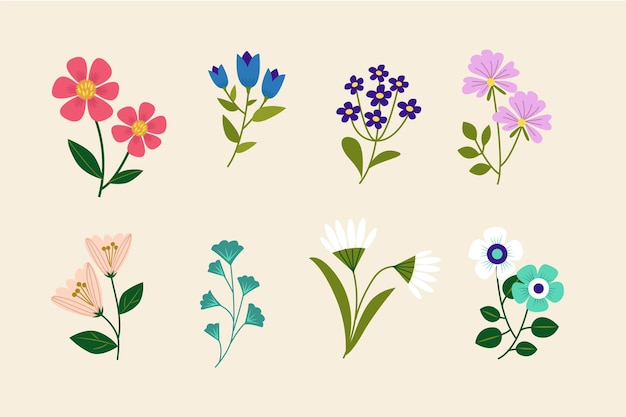 Hand drawn beautiful flowers collection Free Vector