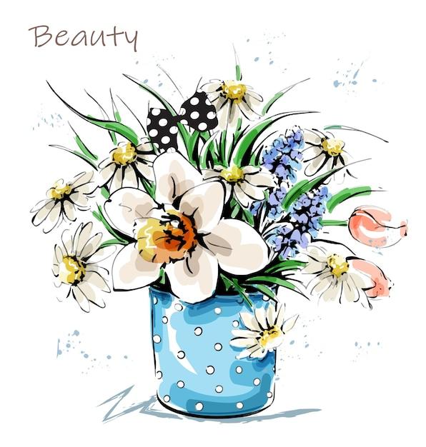Hand drawn beautiful flowers in vase. cute flower bouquet. sketch. Premium Vector