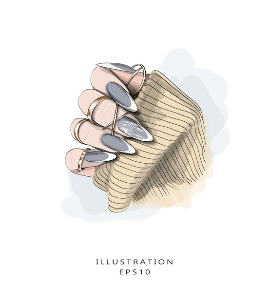 手描きの美しいマニキュアスケッチ。モダンマニキュア。 Premiumベクター