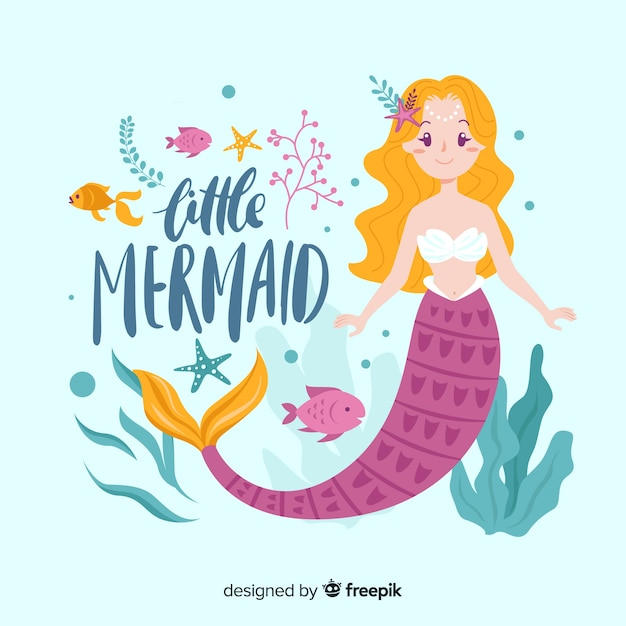 Hand drawn beautiful mermaid background Free Vector