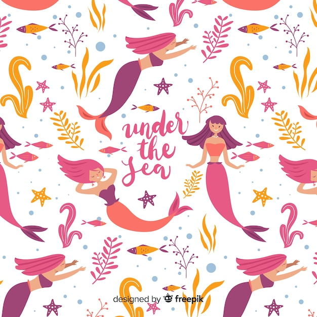 Hand drawn beautiful mermaid pattern Free Vector
