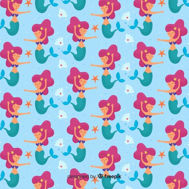 Hand drawn beautiful mermaid pattern Free Vector