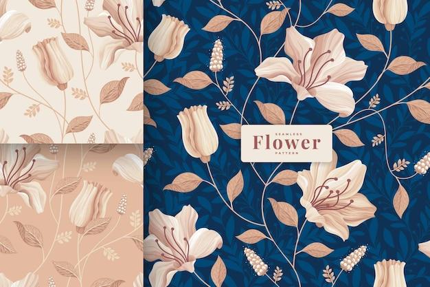 手描きの美しいパステルカラーの花柄コレクション Premiumベクター