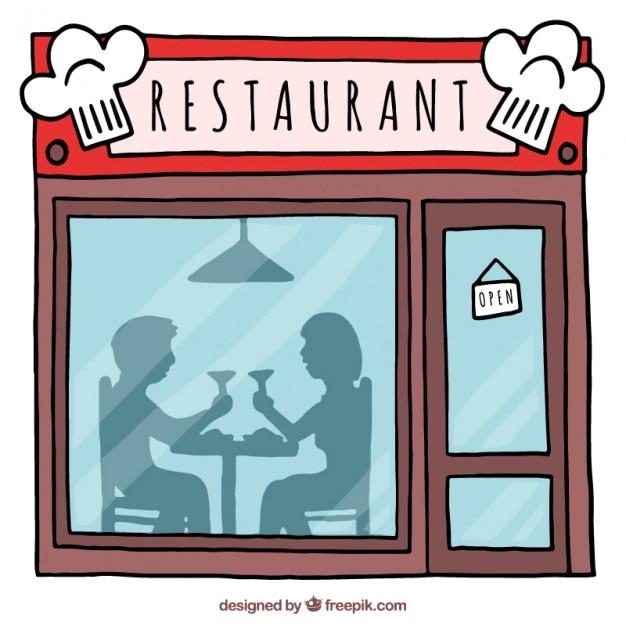 Hand drawn beautiful restaurant