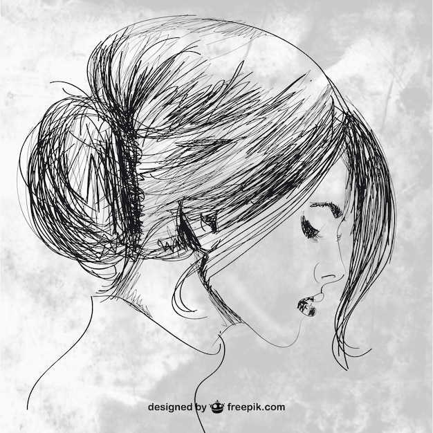 Drawing Lines With Pen Tool Photo : Hand drawn beautiful woman vector free download