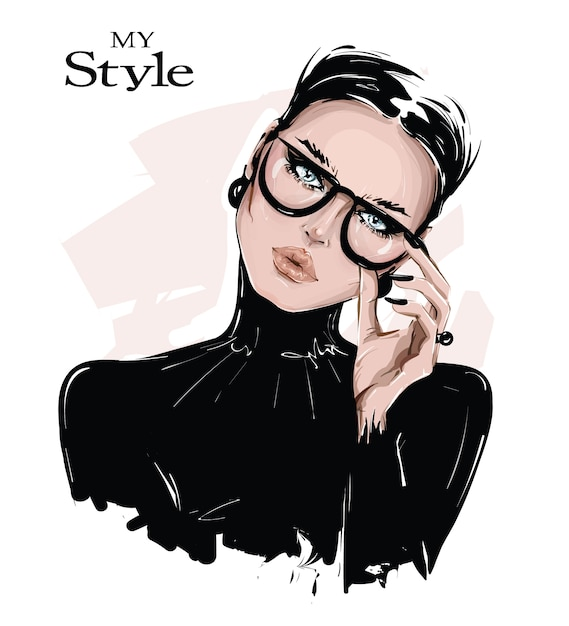 Hand drawn beautiful young woman in eyeglasses. stylish girl in black shirt. fashion woman look. Premium Vector