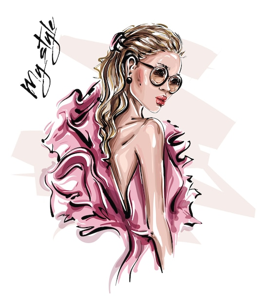 Hand drawn beautiful young woman in sunglasses. stylish girl in pink dress. fashion woman look. Premium Vector