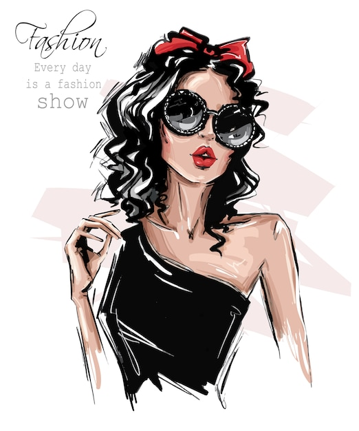 Hand drawn beautiful young woman in sunglasses. stylish girl with bow on her head. fashion woman look. Premium Vector