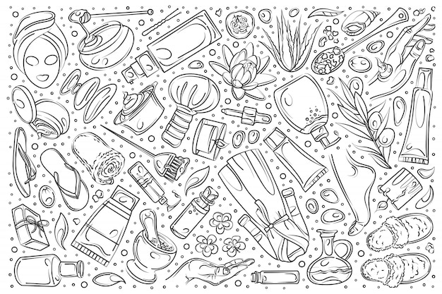 Hand drawn beauty set doodle  background Premium Vector