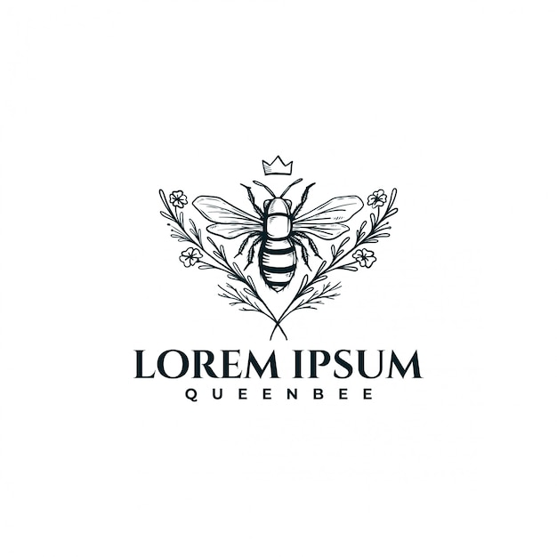Hand drawn bee with floral Premium Vector