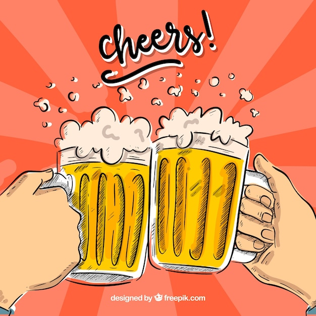 Hand drawn beer background Free Vector