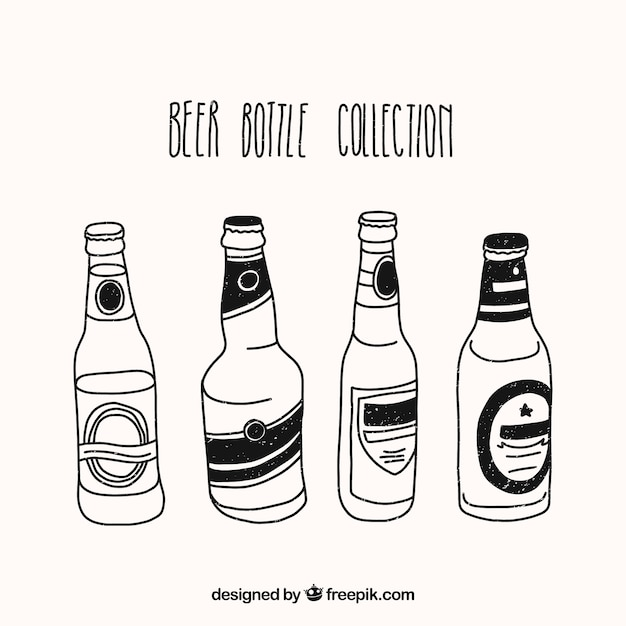 Hand drawn beer bottle collection Free Vector