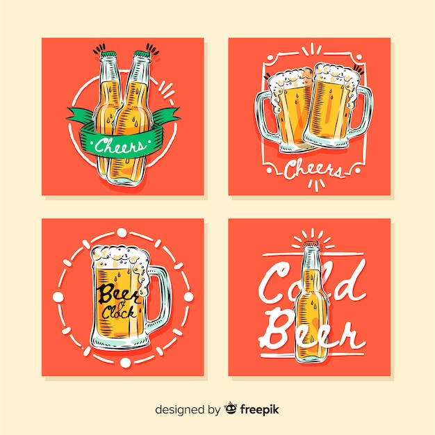 Hand drawn beer card collection Free Vector
