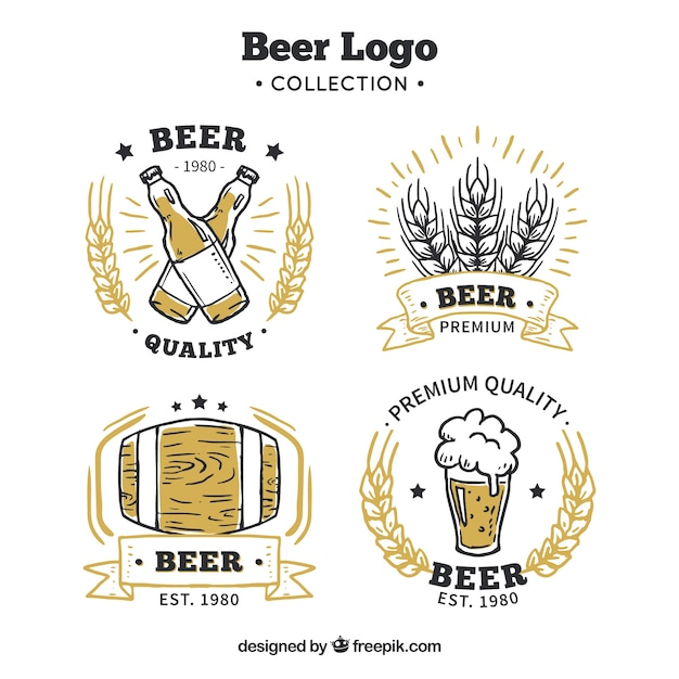 Hand drawn beer collection Free Vector