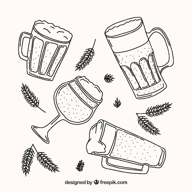 Hand drawn beer glass & mug collection Free Vector