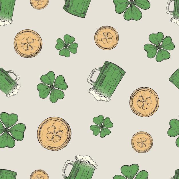 Hand drawn beer mug, leprechaun golden coins and green lucky shamrock Premium Vector