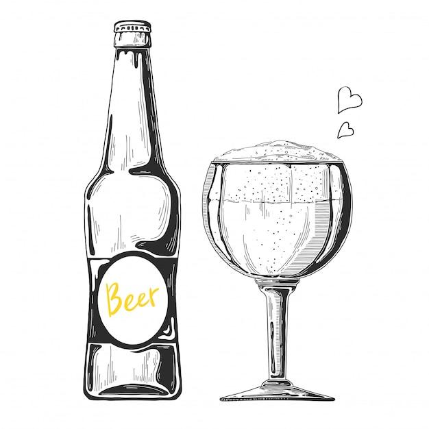 Hand drawn beer sketch Premium Vector