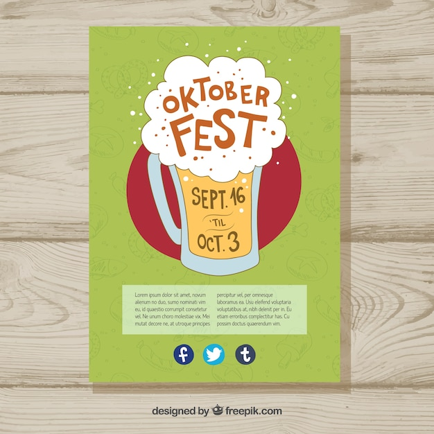 Hand drawn beer with foam on oktoberfest poster Free Vector