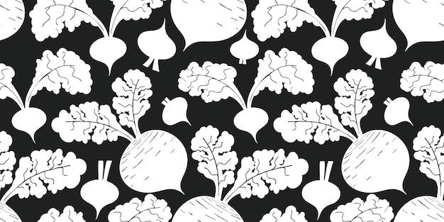 Hand drawn beetroot seamless pattern. organic cartoon fresh vegetable illustration. Premium Vector