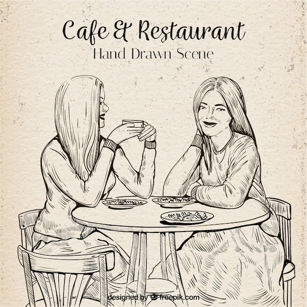 Hand drawn best friends in a coffee shop