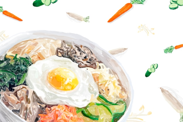Hand drawn bibimbap watercolor style Free Vector