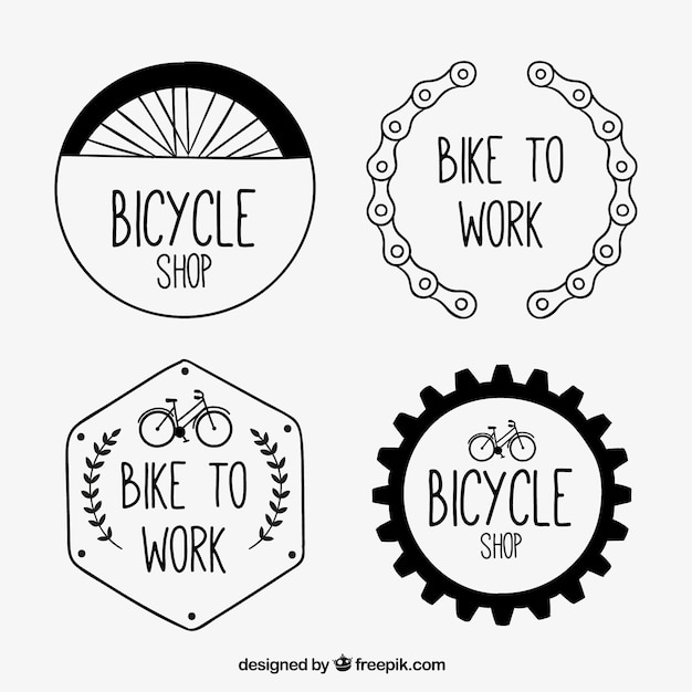 Hand drawn bicycle badges in vintage\ style
