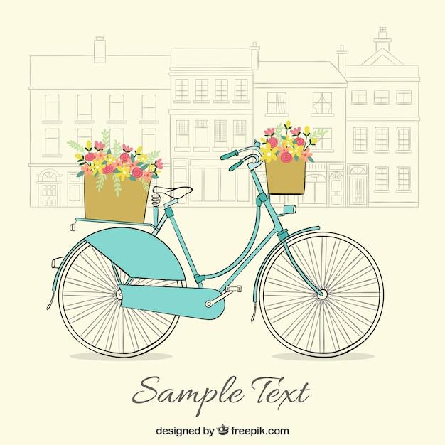 Ручной обращается урожай велосипед фон с милыми корзины Бесплатные векторы
