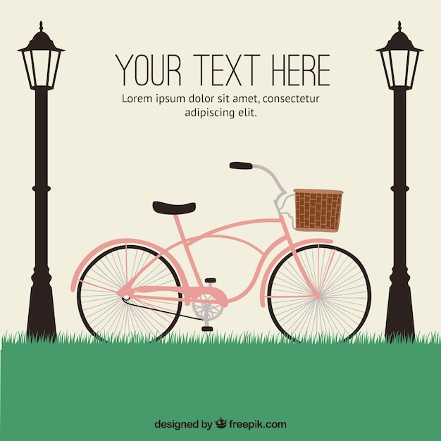 Hand drawn bicycle with streetlights\ background