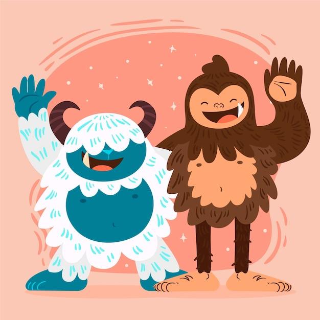 Disegnato a mano bigfoot sasquatch e yeti abominevole pupazzo di neve illustrazione Vettore gratuito