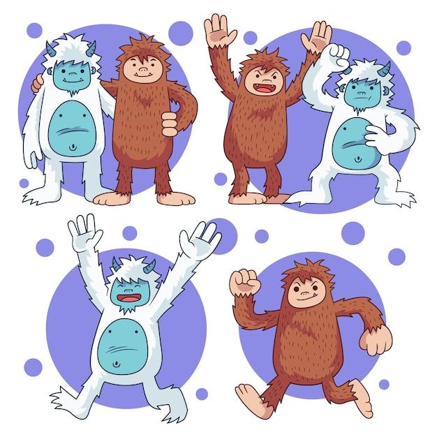 Illustrazione disegnata a mano del pupazzo di neve di bigfoot sasquatch e yeti adominable Vettore gratuito