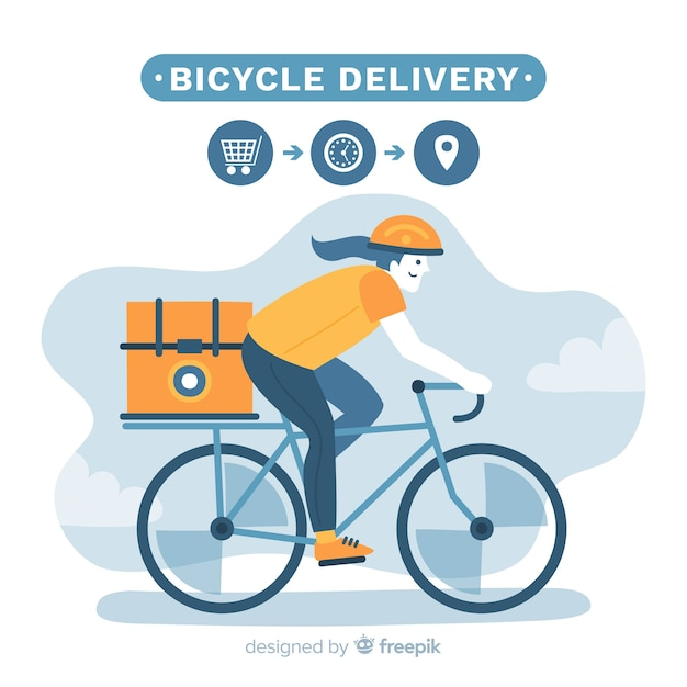 Hand drawn bike delivery concept illustration Free Vector