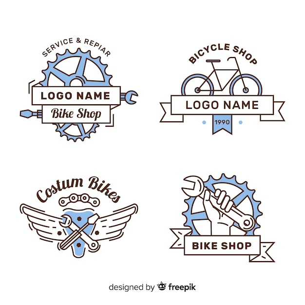 Hand drawn bike logo collectio Free Vector