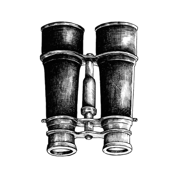 Hand drawn binoculars isolated on white background Free Vector