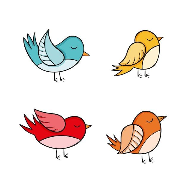 手描き鳥コレクション 無料ベクター