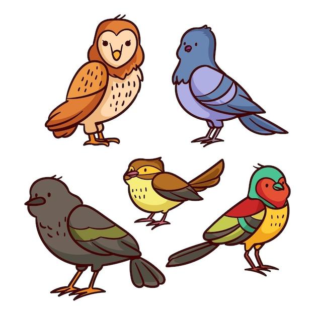 手描き鳥セット 無料ベクター