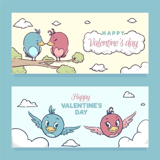 Баннеры на день святого валентина с птицами Бесплатные векторы
